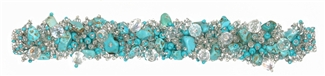 "Fuzzy Bracelet with Stones, Large 7.75"" - #135 Turquoise and Crystal, Double Magnetic Clasp!"