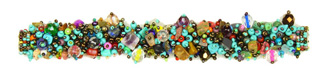 "Fuzzy Bracelet with Stones, Large 7.75"" - #153 Multi, Turquoise, Bronze, Double Magnetic Clasp!"