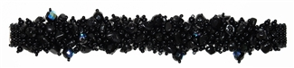 "Fuzzy Bracelet with Stones, Large 7.75"" - #200 Black, Double Magnetic Clasp!"