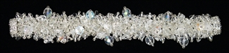 "Fuzzy Bracelet with Stones, Large 7.75"" - #206 Crystal, Double Magnetic Clasp!"
