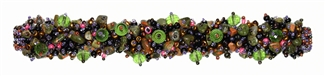 "Fuzzy Bracelet with Stones, Large 7.75"" - #242 Pink, Purple, Green, Double Magnetic Clasp!"