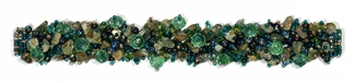 "Fuzzy Bracelet with Stones, Large 7.75"" - #290 Unakite, Blue/Green, Double Magnetic Clasp!"