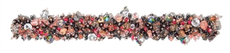 "Fuzzy Bracelet with Stones, Large 7.75"" - #345 Hematite, Pink, Crystal, Double Magnetic Clasp!"