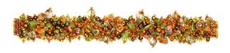 "Fuzzy Bracelet with Stones, Large 7.75"" - #504 Unakite Ginger, Double Magnetic Clasp!"