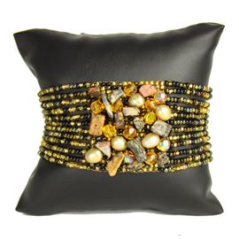 Gem Cluster Bracelet - #104 Black and Gold