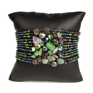 Gem Cluster Bracelet - #105 Purple and Green, Double Magnetic Clasp!