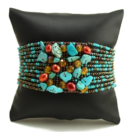Gem Cluster Bracelet - #131 Turquoise and Bronze, Double Magnetic Clasp!