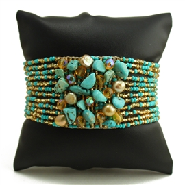 Gem Cluster Bracelet - #132 Turquoise and Gold, Double Magnetic Clasp!