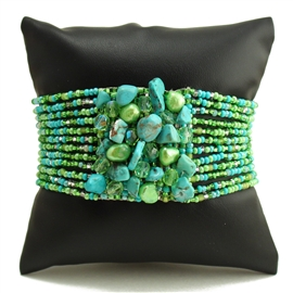 Gem Cluster Bracelet - #134 Turquoise and Lime, Double Magnetic Clasp!