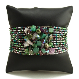 Gem Cluster Bracelet - #288 Green, Purple, Crystal, Double Magnetic Clasp!