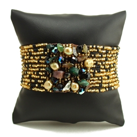 Gem Cluster Bracelet - #900 Black, Gold, Green, Double Magnetic Clasp!