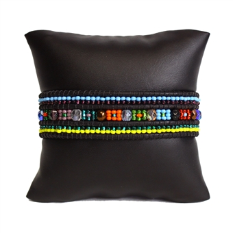 Leather Crystal Bracelet - #100 Color Block Multi, Magnetic Clasp!