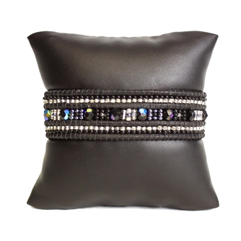 Leather Crystal Bracelet - #102 Black and Crystal, Magnetic Clasp!