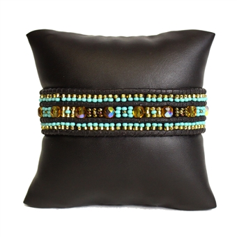 Leather Crystal Bracelet - #132 Turquoise and Gold, Magnetic Clasp!