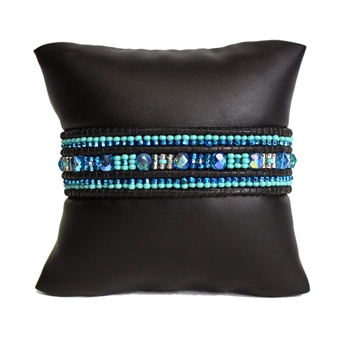 Leather Crystal Bracelet - #135 Turquoise and Crystal, Magnetic Clasp!
