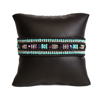 Leather Crystal Bracelet - #145 Turquoise, Purple, Crystal, Magnetic Clasp!