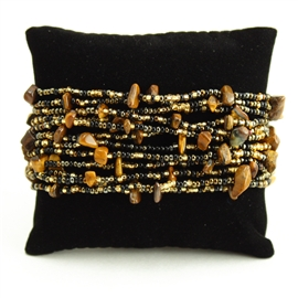 12 Strand with Stones Bracelet - #104 Black and Gold, Magnetic Clasp!