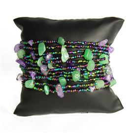 12 Strand with Stones Bracelet - #105 Purple and Green, Magnetic Clasp!