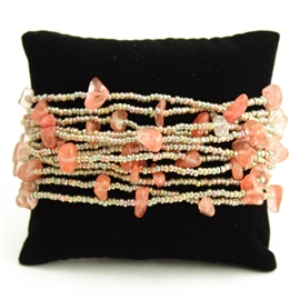 12 Strand with Stones Bracelet - #129 Peach, Magnetic Clasp!