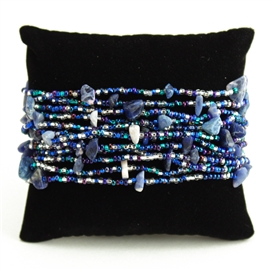 12 Strand with Stones Bracelet - #170 Blue and Crystal, Magnetic Clasp!