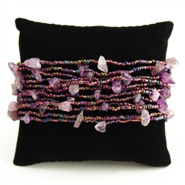 12 Strand with Stones Bracelet - #210 Purple, Magnetic Clasp!