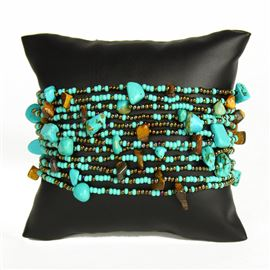 12 Strand with Stones Bracelet - #223 Turquoise and Bronze Mix