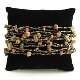 12 Strand with Stones Bracelet - #262 Jasper, Bronze, Blue, Magnetic Clasp!