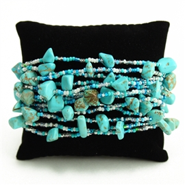 12 Strand with Stones Bracelet - #277 Turquoise and White, Magnetic Clasp!