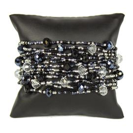 12 Strand with Crystals Bracelet - #102 Black and Crystal, Magnetic Clasp!
