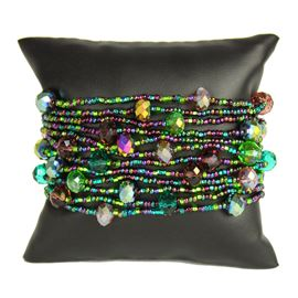 12 Strand with Crystals Bracelet - #105 Purple and Green