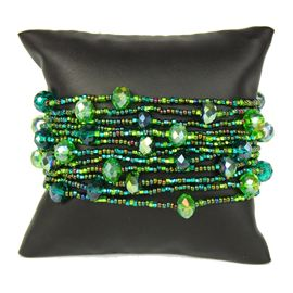 12 Strand with Crystals Bracelet - #109 Green, Magnetic Clasp!