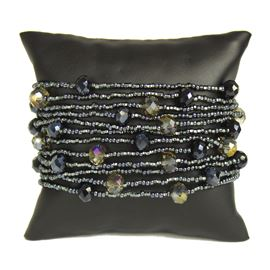 12 Strand with Crystals Bracelet - #112 Hematite, Magnetic Clasp!