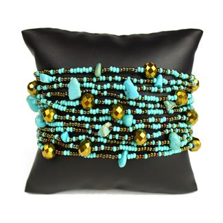 12 Strand with Crystals Bracelet - #131 Turquoise and Bronze, Magnetic Clasp!