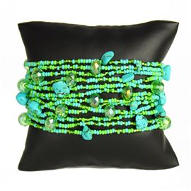 12 Strand with Crystals Bracelet - #134 Turquoise and Lime