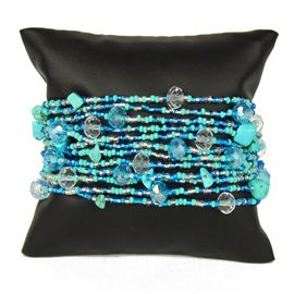 12 Strand with Crystals Bracelet - #135 Turquoise and Crystal, Magnetic Clasp!
