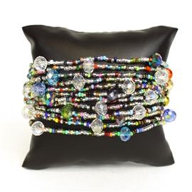 12 Strand with Crystals Bracelet - #150 Crystal Multi, Magnetic Clasp!