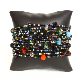 12 Strand with Crystals Bracelet - #151 Black Multi, Magnetic Clasp!