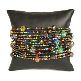 12 Strand with Crystals Bracelet - #152 Bronze and Multi, Magnetic Clasp!
