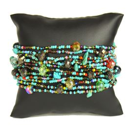 12 Strand with Crystals Bracelet - #153 Turquoise, Bronze, Multi, Magnetic Clasp!