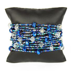 12 Strand with Crystals Bracelet - #170 Blue and Crystal, Magnetic Clasp!