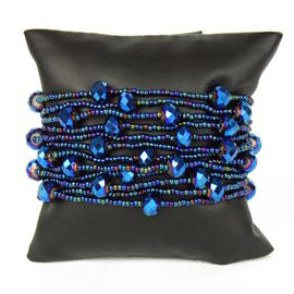 12 Strand with Crystals Bracelet - #202 Blue Iris, Magnetic Clasp!