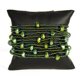 12 Strand with Crystals Bracelet - #203 Green Iris