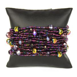 12 Strand with Crystals Bracelet - #210 Purple, Magnetic Clasp!
