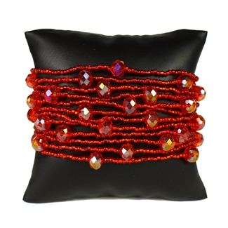 12 Strand with Crystals Bracelet - #214 Solid Red
