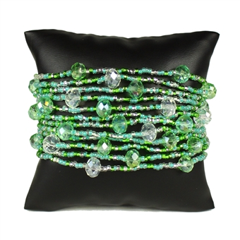 12 Strand with Crystals Bracelet - #237 Kelly Green, Magnetic Clasp!
