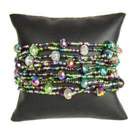 12 Strand with Crystals Bracelet - #288 Purple, Green, Crystal, Magnetic Clasp!