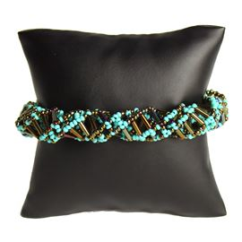 DNA Bracelet - #223 Turquoise and Bronze Mix, Magnetic Clasp!