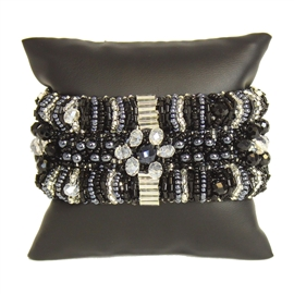 Bugle Delight - #102 Black and Crystal, Double Magnetic Clasp!
