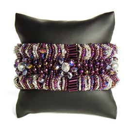 Bugle Delight - #172 Purple and Crystal, Double Magnetic  Clasp!