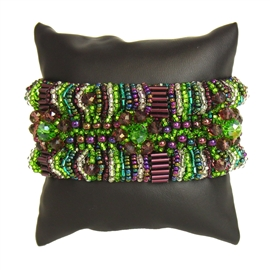 Bugle Delight - #288 Purple, Green, Crystal, Double Magnetic Clasp!